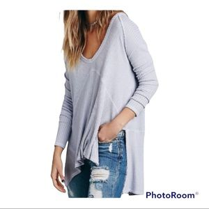Free People Sunset Park Thermal Waffle Knit Top Small